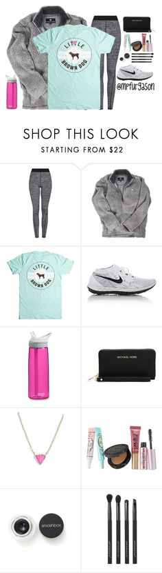 """""""Pretty day to walk"""" by mpfurgason ❤ liked on Polyvore featuring Topshop, NIKE, CamelBak, MICHAEL Michael Kors, Kendra Scott, Too Faced Cosmetics, Smashbox and Japonesque"""