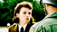 Peggy Carter in Captain America: The First Avenger. Steve's little smile!