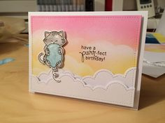 Newton with balloon flying in the clouds | Newton's Birthday Bash Stamp set by Newton's Nook Designs #newtonsnook