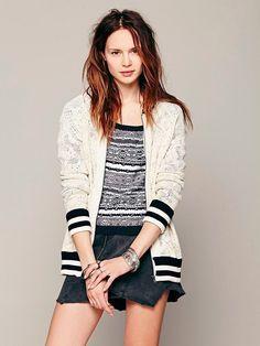 NEW Free People Ivory Crochet Baseball Cardigan Zip Sweater Women's XS  #FreePeople #Cardigan