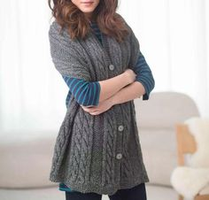 Cable and Buttoned Wrap Kit - Knitting Kit includes Yarn & Pattern! Yarn: Great Smokey Mountains