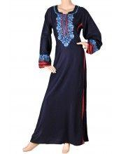 aljalabiya.com: Plain cotton jalabiya with handwork and machine embroidery on cuffs (N-10248) $97.00