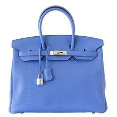 #Hermes Birkin #Bag Bleu Paradis Clemence Palladium Hardware