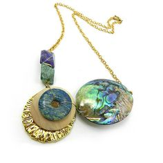 Chunky abalone necklace Edgy abalone shell paua statement necklace by osofreejewellery