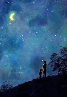 'Night Sky' (notice the moonlight reflecting off their bodies) Night Sky Painting, Moon Painting, Ciel Nocturne, Poster S, Anime Scenery, Stars And Moon, Sky Moon, Stargazing, Night Skies