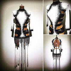 #abrahammartinez #dress #latin #whiteandblack #cristal #jet #swarovski #pearls #design #designer #forsale FOR SALE!!