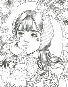 Girls with Poem by m.l – Korean girls coloring book – Meninas - Malvorlagen Mandala Free Adult Coloring Pages, Coloring Pages To Print, Coloring Book Pages, Colorful Drawings, Colorful Pictures, Japanese Embroidery, Christmas Colors, Line Art, Sketches