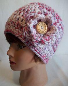 Pretty Pink Chunky Crochet Beanie Crochet by KarensCrochetCottage