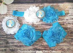 Blue and White Alice in Wonderland Headband, Elastic Bracelet, Barefoot Sandal Set / Baby Headband / Headband Set / Barefoot Sandals / Bows