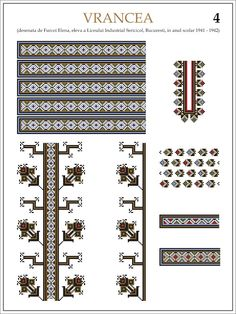 Semne Cusute: ie din VRANCEA (4) Modele de ii Romanesti din caietul elevei… Folk Embroidery, Embroidery Patterns, Cross Stitch Patterns, Hama Beads, Beading Patterns, Pixel Art, Folk Art, Traditional, Sewing