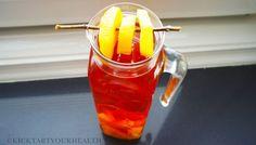 Gezonde suikervrije ijsthee peach