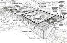 View of the Temple Mount from the south, comparing the size of Solomon's 500 cubit square platform with the two later phases of the  extensions. The Mount of Olives would be to the right of this image.  The Hasmoneans extended the Temple Mount to the south, identified by a bend in the eastern wall were they began adding on. The 2nd took place in 19 BC by Herod who extended it even further to the south of the Hasmonean extension doubling the size of the Temple Mount.