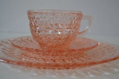 SOLD***$50.00***Jeannette Glass Pink Holiday Buttons and Bows Dinner Plate, Saucer, and Cup - set of 2*** For more unique items please visit: http://www.etsy.com/shop/TsEclecticCorner