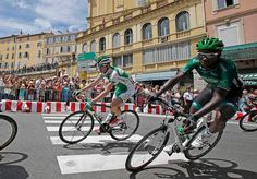 Sojasun team rider Anthony Delaplace (L) of France and Europcar team rider Kevin Reza (R) of France cycle in Grasse during the 228.5 km fifth stage of the centenary Tour de France cycling race from Cagnes-Sur-Mer to Marseille July 3, 2013. REUTERS/Jacky Naegelen