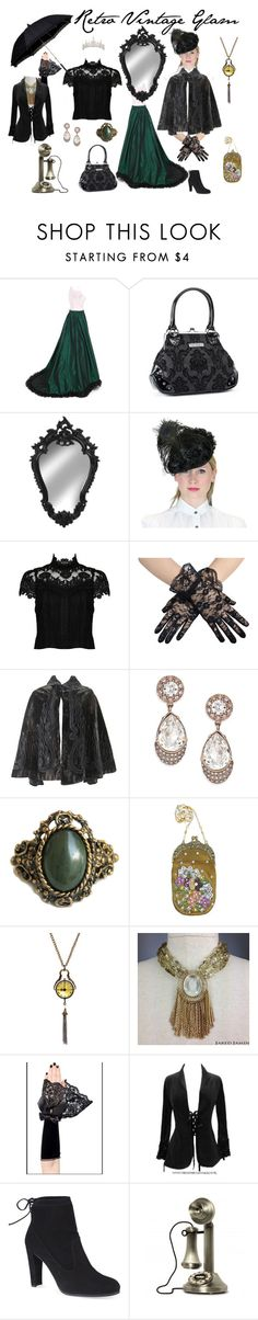 """Retro Victorian Inspired Black & Green & Gold Accents"" by tracy-smith-iii ❤ liked on Polyvore featuring Rock Rebel, Alice + Olivia, Givenchy, Vintage Addiction, Stuart Weitzman, modern, contemporary, vintage, women's clothing and women's fashion"