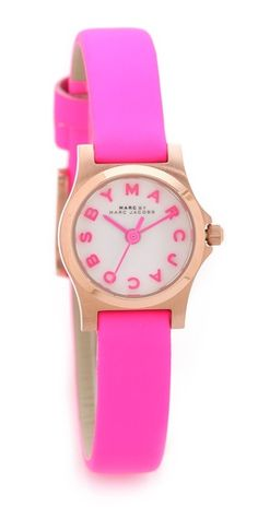 Marc by Marc Jacobs Henry Dinky Watch. The vivid leather band of a Marc by Marc Jacobs watch has a silky, matte finish.