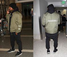 Kanye is wearing a Yeezy Season 3 jacket (sold out), black hoodie and Adidas pants paired with Adidas Ultra Boost.