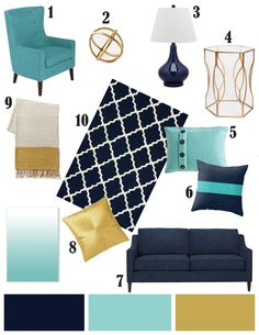navy aqua and gold great colors to blend in throughout the penthouse. Neutral tones in furniture, but pops of color in accents