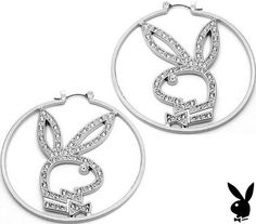 Amazon.com: Playboy Earrings Hoops Swarovski Crystal Bunny Bling Logo Rabbit Head Design Genuine Authentic Licensed Jewelry Jewellery: Playboy: Jewelry