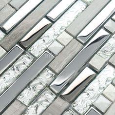 Wholesale Mosaic - Buy Interlocking Mosaic Tile Plating Crystal Glass Stainless Steel And Stone Blend Bathroom Shower Wall Tiles Kitchen Backsplash Floor Tile, $26.07 | DHgate