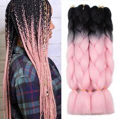 Xtrend ombré two tone hair Synthetic Rainbow Hair Jumbo Braids Crochet Box Braids Hairstyles, Chic Hairstyles, My Hairstyle, Bob Box Braids Styles, Box Braids Styling, Braid Styles, Pink Box Braids, Ombre Box Braids, Afro Braids