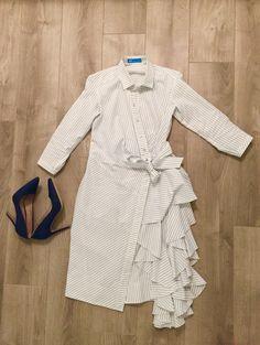 Дизайнерское платье с запахом и туфли из джинсы