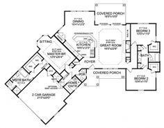 Floor Plans AFLFPW75917 - 1 Story Craftsman Home with 3 Bedrooms, 2 Bathrooms and 2,065 total Square Feet
