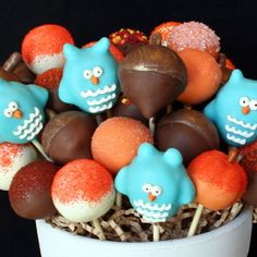 12 Assorted Fall Cake Pops with Owls Acorns & by SweetWhimsyShop, $34.00