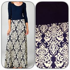 Navy Medallion long maxi dress. Only a few sizes left. Order yours at Shannasthreads.com