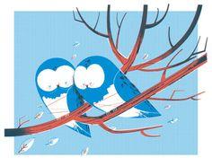 Blue Owls cuddling.