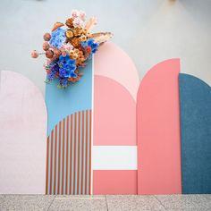 Pretty in Pastels: Fresh, Modern + Organic Wedding Inspiration in Los Angeles - Green Wedding Shoes Flower Installation, Ceremony Backdrop, Wedding Ceremony, Pastel, Photo Booth Backdrop, Backdrops For Parties, Booth Design, Event Decor, Event Design