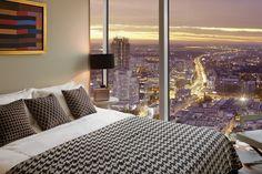 Warsaw seen from 50th floor of ZŁOTA 44 #bedroom#view#Warsaw#Złota44