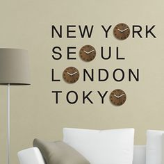 seiko world time wall clock - 6 custom time zones - black wooden