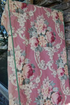 vintage rose barkcloth slipcover
