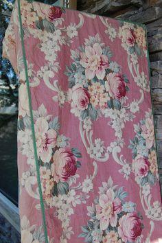vintage rose barkcloth...