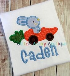 Bunny Car Applique - 4 Sizes! | Easter | Machine Embroidery Designs | SWAKembroidery.com Stitch Away Applique