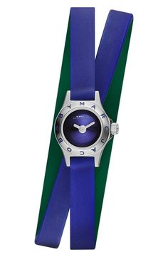 This bright blue silicone strap wrap watch is perfect for adding a touch of color to the fall wardrobe.