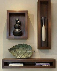 Functional & Stylish Wall Shelves Ideas That You Can Make By Yourself To Decorate Your Interior - Holzwand - Shelves in Bedroom Wall Shelves Design, Wall Design, House Design, Niche Design, Wood Wall Shelf, Corner Shelves, Decoration Hall, Regal Design, Diy Wand