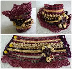 Design your own photo charms compatible with your pandora bracelets. Bracelet Cuff Crochet Bracelet Cuff Beaded Cuff by SvetlanaCrochet Freeform Crochet, Thread Crochet, Crochet Motif, Crochet Yarn, Crochet Patterns, Crochet Necklace Pattern, Crochet Beaded Bracelets, Beaded Crochet, Crochet Gloves