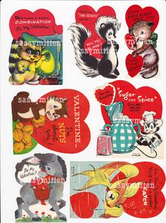 Vintage Valentines PDFs - All Kinds of Critters - 32 Valentines For You to Print
