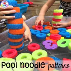 Pool noodle math (patterns & counting) plus tons of summer themed activities your preschool, pre-k, and kindergarten kiddos will LOVE! #preschool #pre-k #summertheme