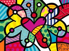 Romero Britto Heart Butterfly Abstract Children Kid Print Poster 11x14