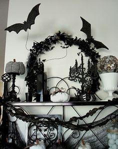 Black and White Halloween Decor - Love the Big Bats