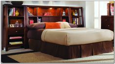 King Size Storage Bed With Bookcase Headboard