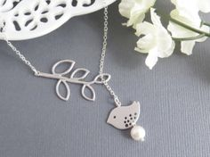 Bird Lariat Necklace  Valentine's Day by LeCharmeJewelry on Etsy, $22.50