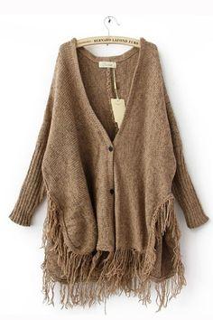 Stylish Deep V Neck Tassels Bottom Sweater Top