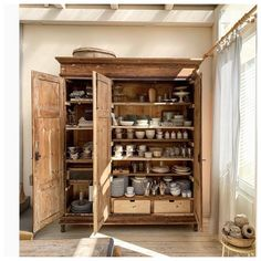 Absolutely in love with this cabinet by ! I am a huge fan of armoires and cabinets in dining rooms and kitchens to store dishes… Kitchen Interior, Kitchen Decor, Kitchen Design, Diy Kitchen Storage, Home Kitchens, New Homes, House Design, House Styles, Furniture