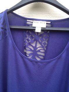 Ava Viv 4X Women's Lacy Shirt Blue Cut out Sexy #AvaViv #Blouse #All