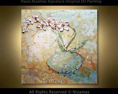 Oil Painting on canvas Palette Knife texture Orchid in a Blue Floral Paula Nizamas ready to Hang Ship Paintings, Your Paintings, Original Paintings, Art Texture, Texture Painting, Sell My Art, Oil Painting Abstract, Knife Painting, Acrylic Paintings