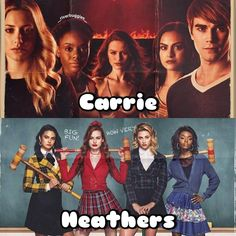 Carrie and Heathers. Riverdale Tv Show, Riverdale Season 2, Riverdale Merch, Bughead Riverdale, Riverdale Funny, Carrie The Musical, Carrie And Big, Big Fun Heathers, Netflix
